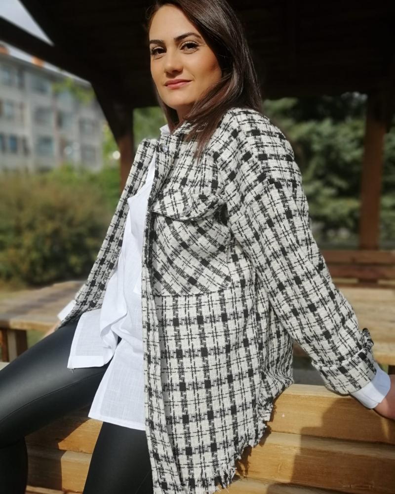 siyah ekose ceket - gömlek